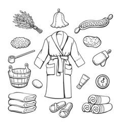 Sauna items sketch vector