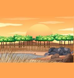 scene with gorilla sleeping in zoo vector image