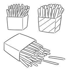 Set french fries vector