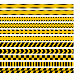 Set of stripes yellow caution warning tape vector