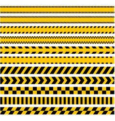 Set stripes yellow caution warning tape vector