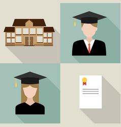 set university students graduation vector image