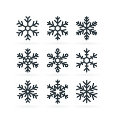 simple icons a snowflake in line style vector image