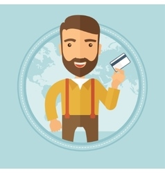Successful businessman holding credit card vector image