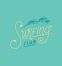 surf badge and wave palm tree and ocean vintage vector image