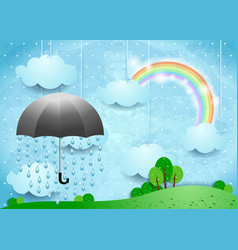Surreal landscape with umbrella and rain vector
