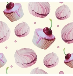 Sweet cake patten watercolor vector
