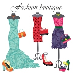 Three colored dresses with accessoriesFashion vector