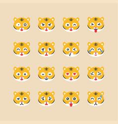 Tiger emoticon set flat style vector