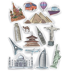 Travel and vacation stickers set vector