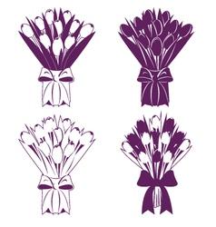 Tulip bouquet silhouette vector image