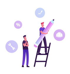 User manual tutorial concept man stand on ladder vector