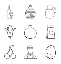 Vegan ration icons set outline style vector