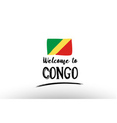 welcome to congo country flag logo card banner vector image