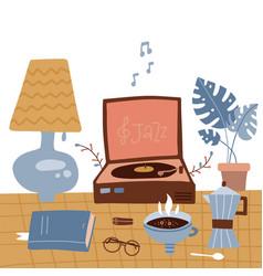 winter cozy types retro rest - vinyl records vector image