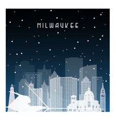 winter night in milwaukee night city in flat vector image