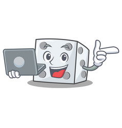 With laptop dice character cartoon style vector