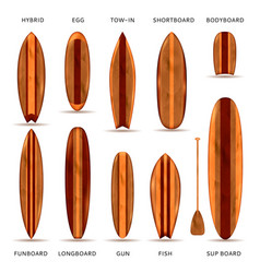 wooden surfboards realistic set vector image