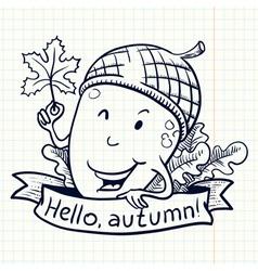 acorn doodle character vector image vector image