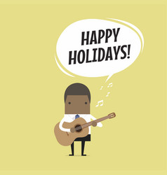 businessman playing guitar and sing happy holidays vector image vector image