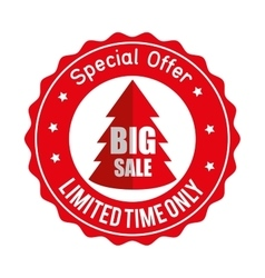 christmas big sale special offer sticker vector image
