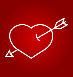 heart pierced with arrow line icon valentines day vector image vector image