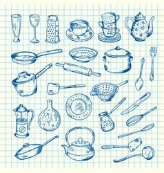 set of kitchen utensils on cell sheet vector image