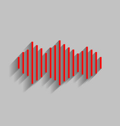 sound waves icon red icon with soft vector image vector image
