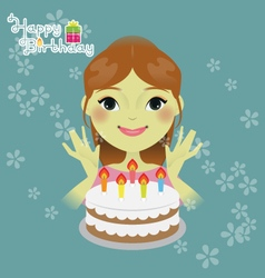 Sweet girl with birthday cake vector image vector image