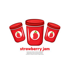 Template logo for strawberry jam vector