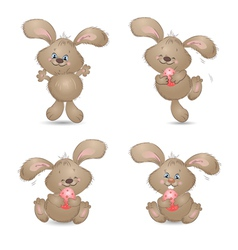 aester rabbit set vector image vector image