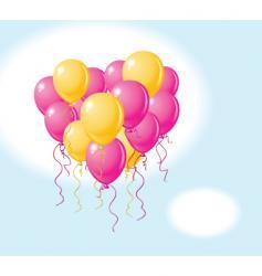 balloons heart sky vector image vector image