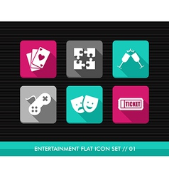 Entertainment flat icons set vector image