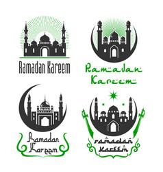 greetings set for ramadan kareem holiday vector image vector image
