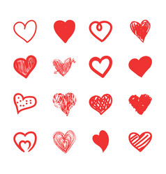 hand drawn hearts sketch grunge and doodle set vector image