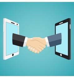 Handshaking businessmen hands from mobile phones vector image vector image