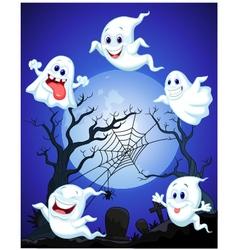 Scene with Halloween ghost vector image