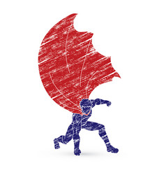 Strong man superhero landing powerful action vector