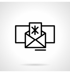 Winter mail icon black simple line style vector image