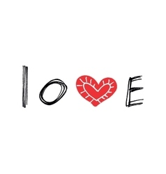 Word Love with abstract red heart vector image