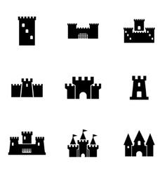 black castle icon set vector image vector image
