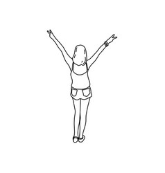 rear view of young woman hands up with victory vector image