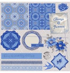 Vintage Porcelain and Flower Set vector image vector image