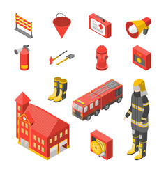 firefighter man and equipment icons set isometric vector image vector image