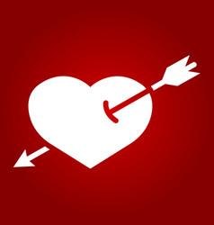 heart pierced with arrow glyph icon valentine vector image vector image