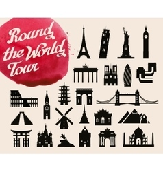 Historic buildings of the world set of icons vector