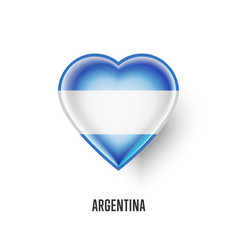 patriotic heart symbol with argentina flag vector image vector image
