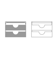 two stationary paper tray grey set icon vector image vector image