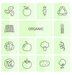 14 organic icons vector