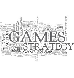 Adults love strategy games text word cloud concept vector